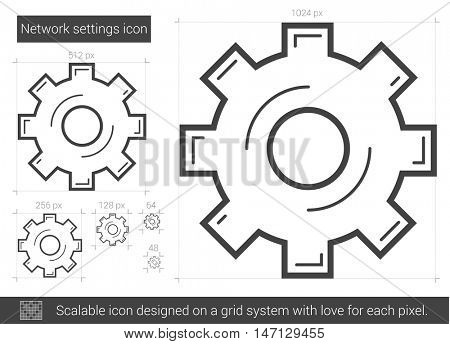 Network settings vector line icon isolated on white background. Network settings line icon for infographic, website or app. Scalable icon designed on a grid system.