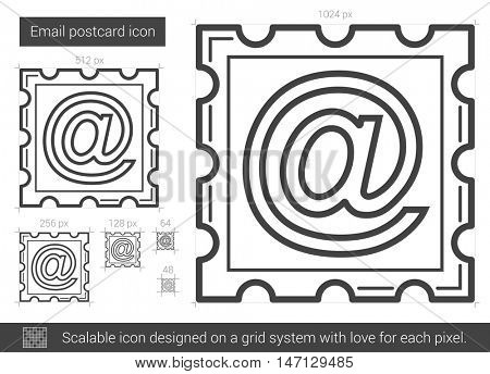 Email postcard vector line icon isolated on white background. Email postcard line icon for infographic, website or app. Scalable icon designed on a grid system.