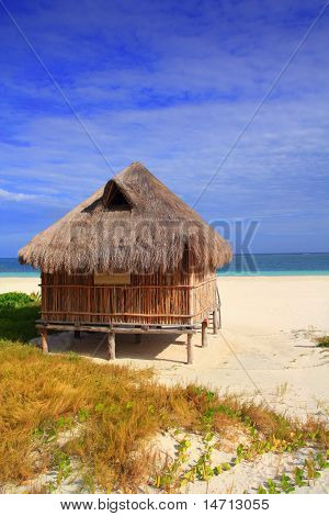 Cabin Palapa Hut Caribbean Sea Beach Mexico