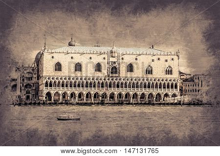 Piazza di San Marco view on Piazza di San Marco from a boat. Modern painting, background illustration, beautiful picture, creative image.
