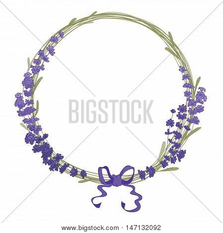 The lavender elegant card with frame of flowers and text. Floral wreath of lavender flowers isolated on whites. Vector illustration.