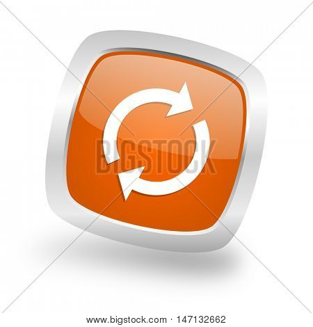 reload square glossy orange chrome silver metallic web icon