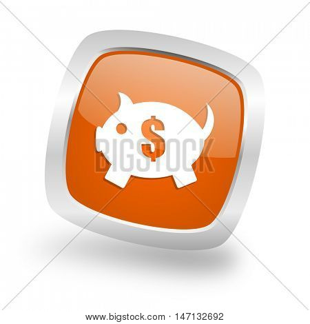 piggy bank square glossy orange chrome silver metallic web icon