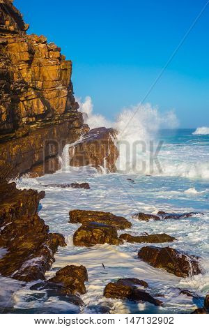 Cape of Good Hope - the most extreme south-western point of Africa. The ocean surf in the Atlantic