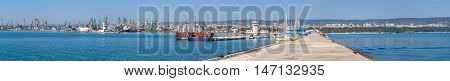 Super Wide Panoramic Photo Of Varna Port