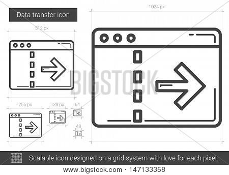 Data transfer vector line icon isolated on white background. Data transfer line icon for infographic, website or app. Scalable icon designed on a grid system.