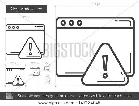 Alert window vector line icon isolated on white background. Alert window line icon for infographic, website or app. Scalable icon designed on a grid system.