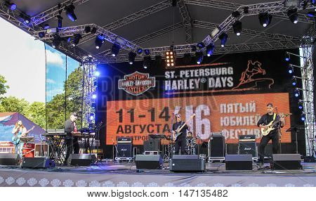 St. Petersburg, Russia - 12 August, Musicians rock band,12 August, 2016. Pop and rock musicians on Harley Davidson festival in St. Petersburg.