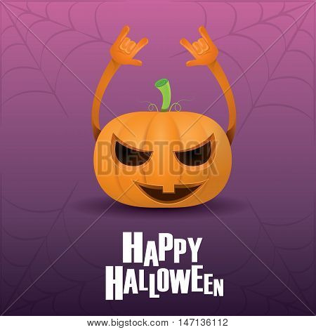 Happy halloween vector creative background. pumpkin rock n roll style halloween greeting card with text. Happy halloween rock concert poster design template or greeting card