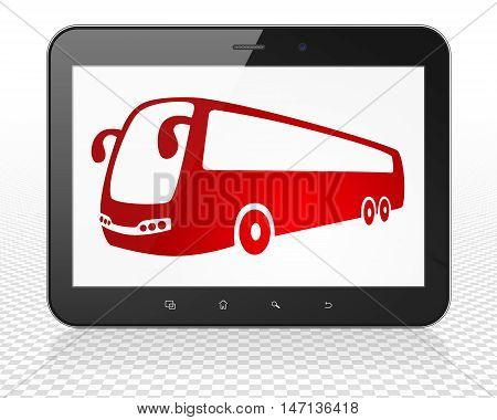 Vacation concept: Tablet Pc Computer with red Bus icon on display, 3D rendering