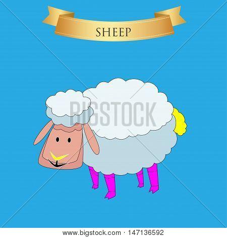 Big sheep on a blue background. Vector illustration