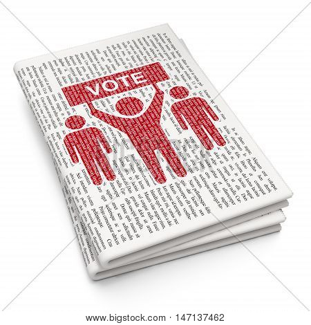 Political concept: Pixelated red Election Campaign icon on Newspaper background, 3D rendering