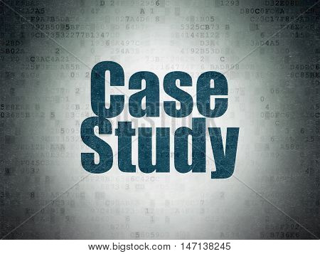 Education concept: Painted blue word Case Study on Digital Data Paper background
