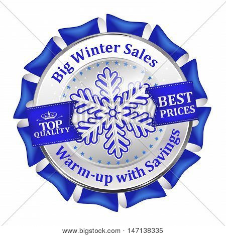 Big winter sales, best prices, top quality, warm-up with savings - shiny blue icon advertising for retail business. Contains pine trees and snowflakes