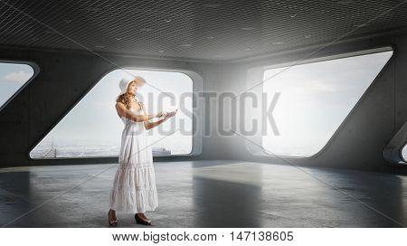 Romantic girl using laptop . Mixed media