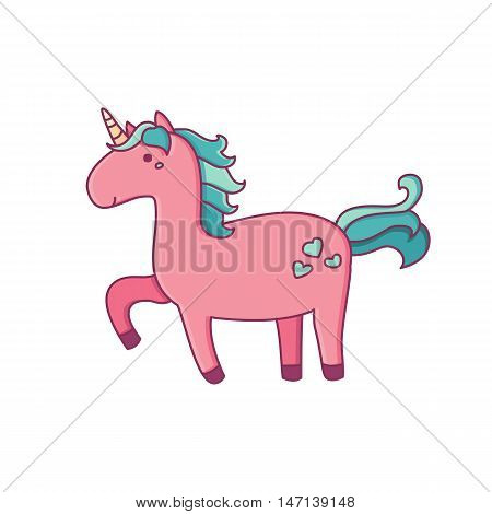 Vector illustration of magic unicorn. Flat line art design to make unicorn party poster invitation greeting card.