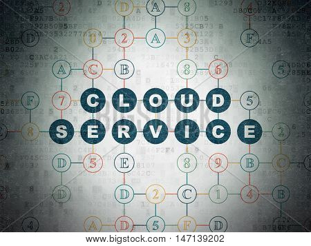 Cloud computing concept: Painted blue text Cloud Service on Digital Data Paper background with Hexadecimal Code