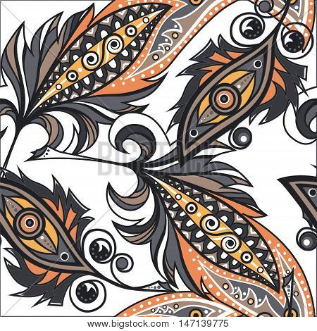 Plumes with ornament decor. Vector seamless pattern.