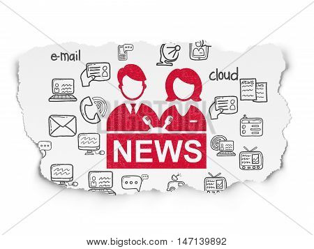 News concept: Painted red Anchorman icon on Torn Paper background with  Hand Drawn News Icons