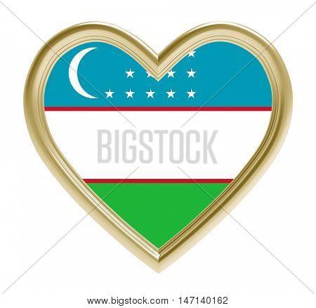 Uzbek flag in golden heart isolated on white background. 3D illustration.