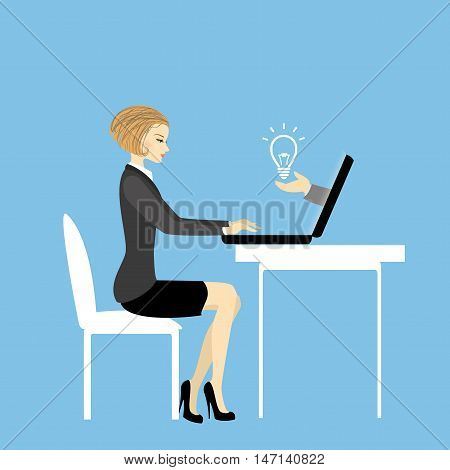 Office worker or business woman. Working On laptop Computer.Idea concept.Cartoon vector illustration
