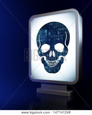 Medicine concept: Scull on advertising billboard background, 3D rendering