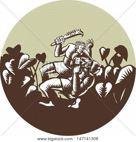 Illustration of Samoan legend wielding a club Nifo'oti weapon defeating the god with taro plant in background done in retro woodcut style