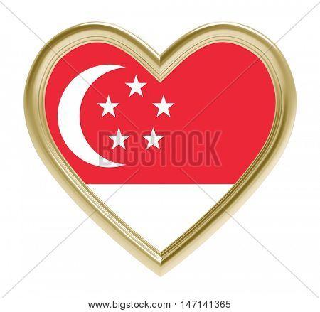 Singaporean flag in golden heart isolated on white background. 3D illustration.