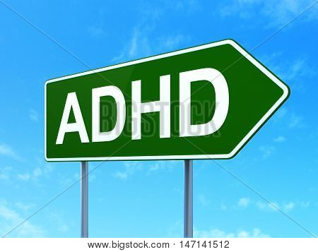 Healthcare concept: ADHD on green road highway sign, clear blue sky background, 3D rendering