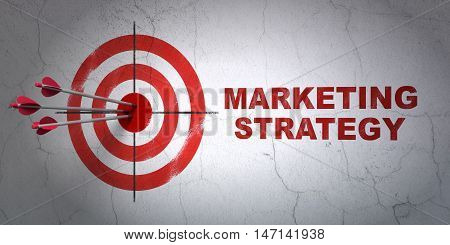 Success advertising concept: arrows hitting the center of target, Red Marketing Strategy on wall background, 3D rendering