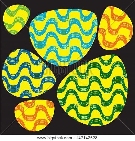 Ipanema beach pattern set. Vector illustration. Brasil style pattern. Oval shape. Wave pattern.
