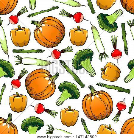 Vegetables seamless background. Wallpaper with vector pattern of fresh vegetarian farm food pepper, paprika, radish, pumpkin, broccoli for grocery store, food market and product shop, tablecloth