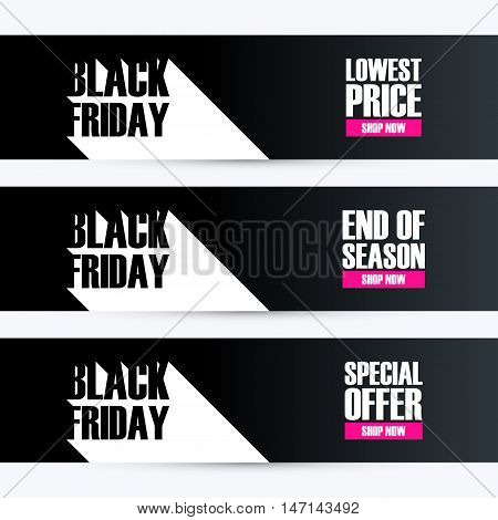 Set of Black Friday banners with long shadow for business, promotion and advertising. Lowest price, end of season, special offer. Vector illustration.