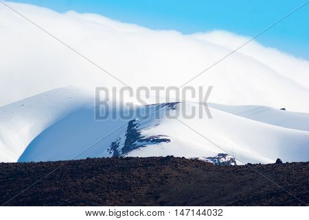 Snow Covered Volcano In Tongariro National Park