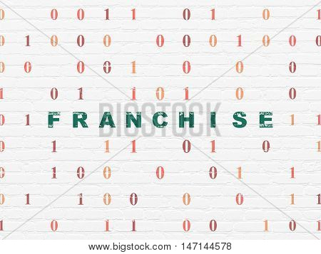 Business concept: Painted green text Franchise on White Brick wall background with Binary Code