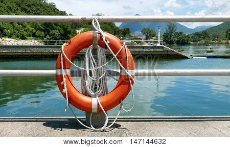 Red Lifebelt, Safety Rope, Pier Near Lake