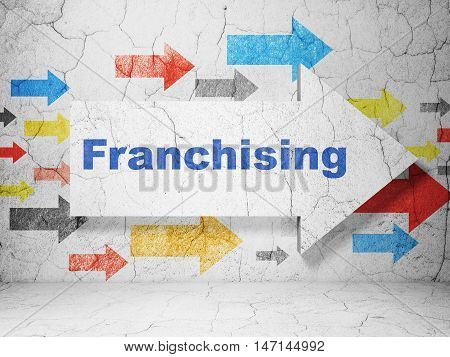 Business concept:  arrow with Franchising on grunge textured concrete wall background, 3D rendering