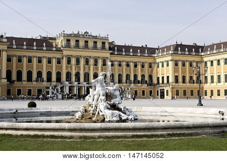 VIENNA, AUSTRIA - September 3, 2016: Detail of the fountain with the statues of Galicia Volhynia and Transylvania in the forecourt of the Schonbrunn Palace in Vienna, on September 3, 2016 in Vienna, Austria