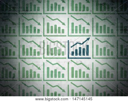 Business concept: rows of Painted green decline graph icons around blue growth graph icon on Digital Data Paper background