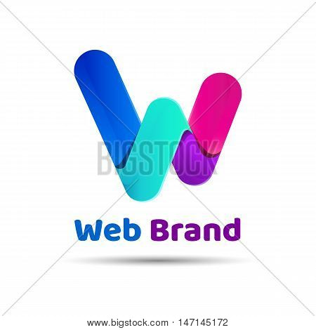Vector illustration of letter W. Creative colorful abstract logo design. Template for your business company.