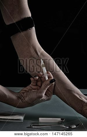 Drug addiction - Shooting up narcotic, dark,