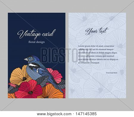 Romantic vintage double-sided card, colorful abstract flowers and bird with the contours on dark background, greetings for birthday, valentines day, mothers day, vector illustration
