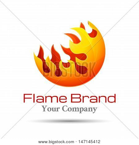 Fire Flame Logo design vector template. Burn Elegant Bonfire Logotype concept icon. Creative colorful abstract illustration for your business company.