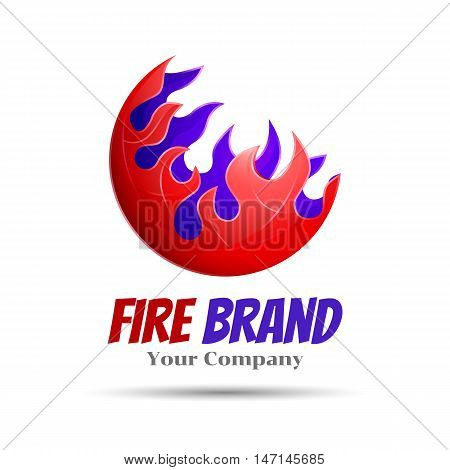 Fireball - vector logo template concept illustration. Fire flame sign. Hot warm symbol. Design element. Creative colorful abstract for your business company.