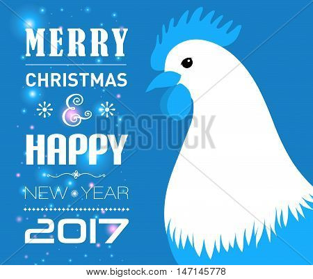 Vector illustration of Merry Christmas e-card with cock and designed text.