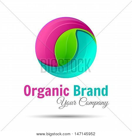 Abstract sphere green leaf logo element vector design ecology symbol shape icon emblem. Organic environment, tree logotype. Creative colorful illustration. Template for your business company.
