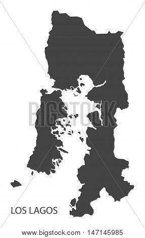 Los Lagos Chile Map in grey vector high res