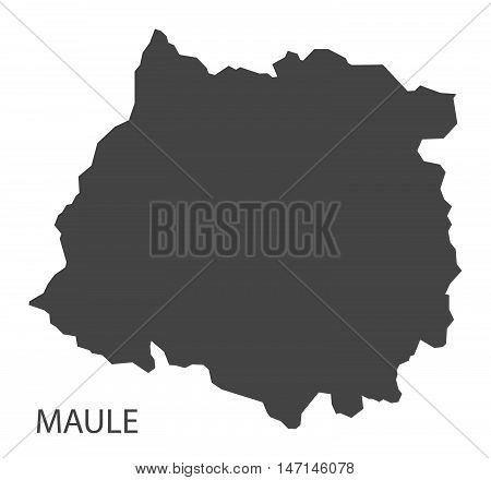 Maule Chile Map in grey vector high res