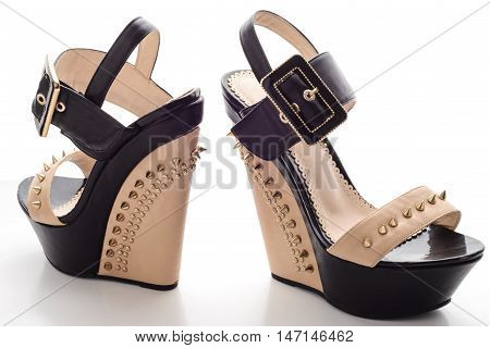 Female Black Platform Shoes With Beige Inserts And Studs