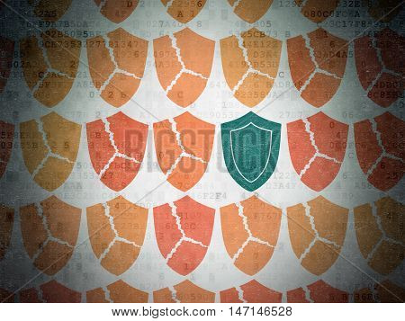 Privacy concept: rows of Painted orange broken shield icons around green shield icon on Digital Data Paper background